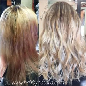 Balayage rooty blonde