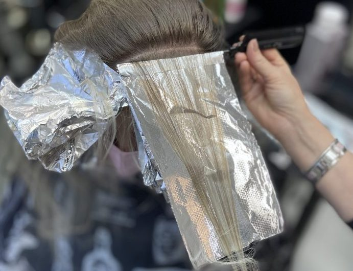 Blond foil highlights. Blonde hair salon Denver
