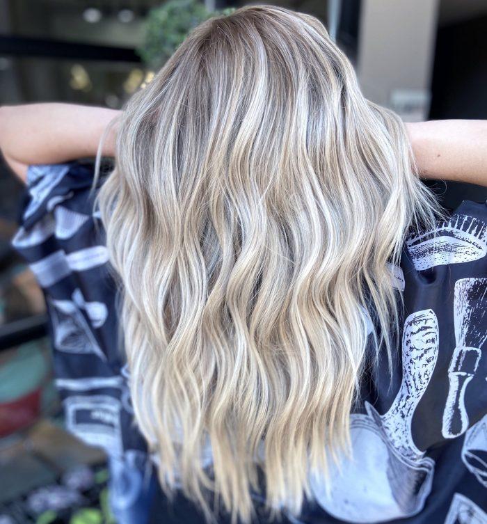 Rooty blonde in Denver hair salon